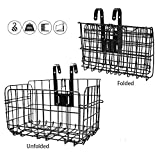 VANDA Folding Rear Bicycle Basket - Front Folding Rear Wire Bike Basket Mesh Fold-Up Rear Hanging Bike Basket Bicycle Cargo Rack for Student Mountaining Outdoor Camping Riding (Black)