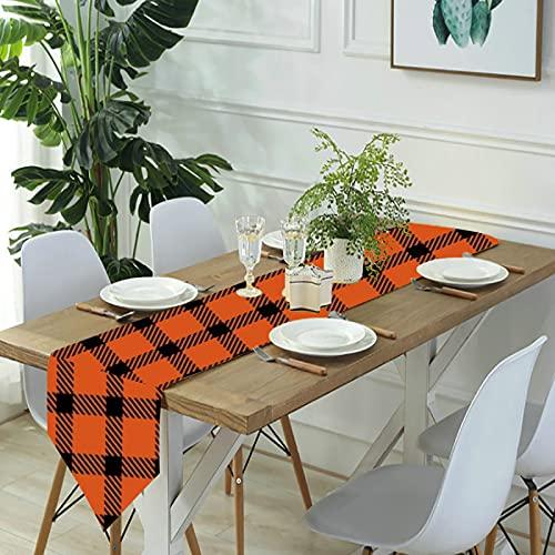 Reebos Camino de mesa de lino para aparador, mini camino de mesa de cocina a cuadros naranja y negro, para cenas de granja, fiestas de vacaciones, bodas, eventos, decoración, 33 x 70 pulgadas