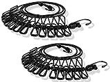 Anlising Cuerda para Tender la Ropa, Cuerda para Tender la Ropa, Cuerda para Camping, Flexible, con 12 Pinzas recubiertas y Hebilla de posicionamiento 185 – 360 cm, 2 Unidades