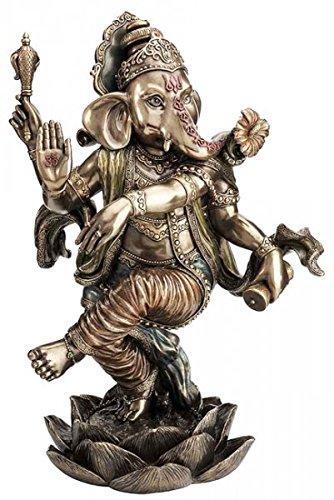 Figur Indischer Elefantengott Ganesha tanzt auf Lotusblüte Hinduismus Indien Skulptur Gott