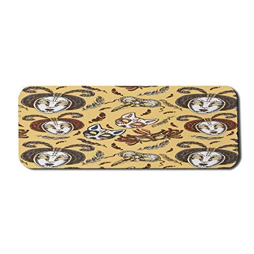 Maskerade Computer Mouse Pad, Papier Mache Gesicht im venezianischen Stil mit Federn Tanz Event Thema, Rechteck rutschfeste Gummi Mousepad große Senf braun weiß