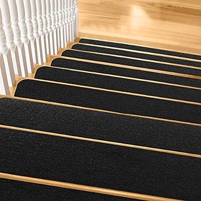 """Pretigo Non Slip Carpet Stair Treads,7.5""""x30"""" Anti-Slip Stair Runner for Wooden Steps,Safety Slip Resistant for Kids,Elders, Dogs (Set of 14) Black"""