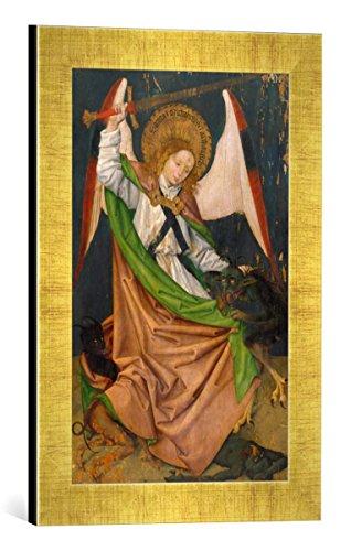 Gerahmtes Bild von Hans Pleydenwurff Hofer Altar. Erzengel Michael tötet den Drachen, Kunstdruck im hochwertigen handgefertigten Bilder-Rahmen, 30x40 cm, Gold Raya