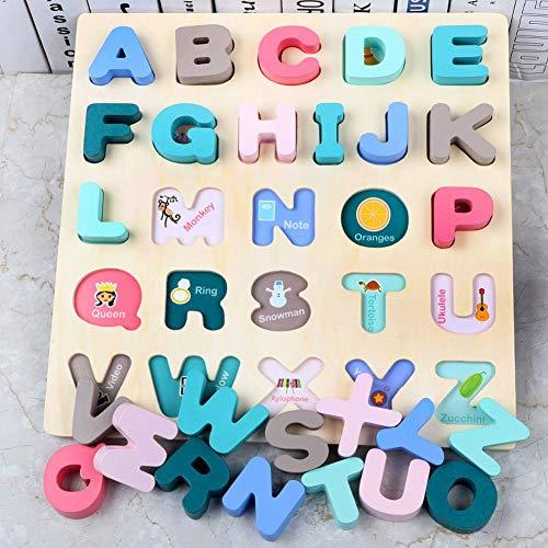 HWD 木製数字とアルファベットパズル - レター 大文字ペグボード並べ替えABCDブロックマッチングゲームモンテッソーリジグソーパズル知育学習教育玩具ギフト用 幼児ベビーキッズ (大文字-02)