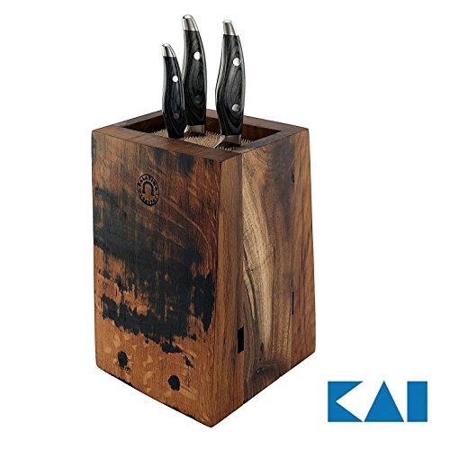Exclusieve, handgemaakt messenblok van oude gevels, inclusief 3 ultrascherpe Kai Shun Nagare Damast-messen NDC-0700 (kantoormes) | + NDC-0702 (santoku) | NDC-0705 (broodmes) | VK: 1139,- €