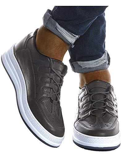 Leif Nelson Herren Schuhe für Freizeit Sport Freizeitschuhe Männer weiße Sneaker Sommer Coole Elegante Sommerschuhe Sportschuhe Weiße Schuhe für Jungen Winterschuhe Halbschuhe LN201;43, Anthrazit
