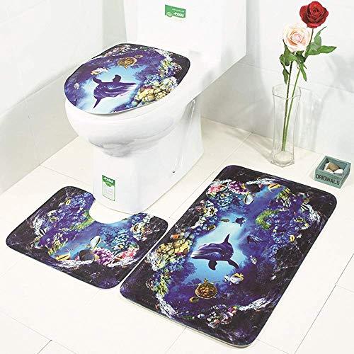SLM-max Juego de Alfombrillas de baño,Las cómodas se Pueden Lavar a máquina Patrón de Belleza de mar Profundo Alfombra de baño Habitación Cojín de Inodoro Alfombra de Tres Piezas Absorción de AGU