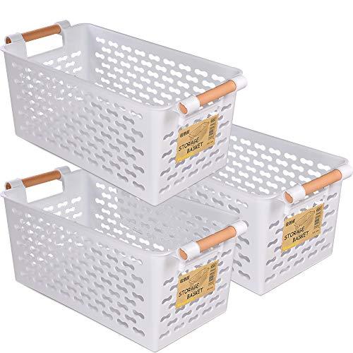 Aufbewahrungskörbe aus Kunststoff, für die Organisation – Set mit 3 Stück, Weiß