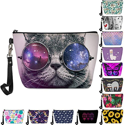 FancyPrint Trippy Cat with Galaxy Glasses Printed Cosmetic Bag for Women Fashion Roomy Makeup Bags Travel Waterproof Toiletry Kit Case Accessories Organizer Pouch Gifts
