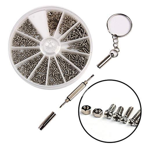 600 stks/set kleine roestvrijstalen schroeven 12 soorten elektronica moeren Assortiment + 1 st schroevendraaier voor horloges/glazen/elektronisch