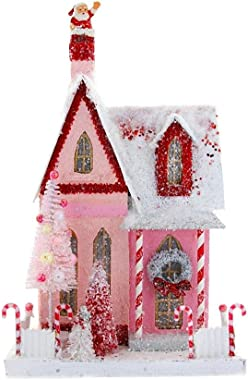 """Red and Pink Christmas Village 14"""" Cottage House with Candy Canes and Santa"""