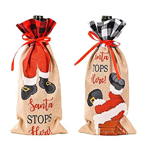 GOWEGB Funda de botella de vino de Navidad, bolsa divertida para botella de vino, suéter hecho a mano para decoraciones de fiesta de vacaciones (juego de 2 unidades)