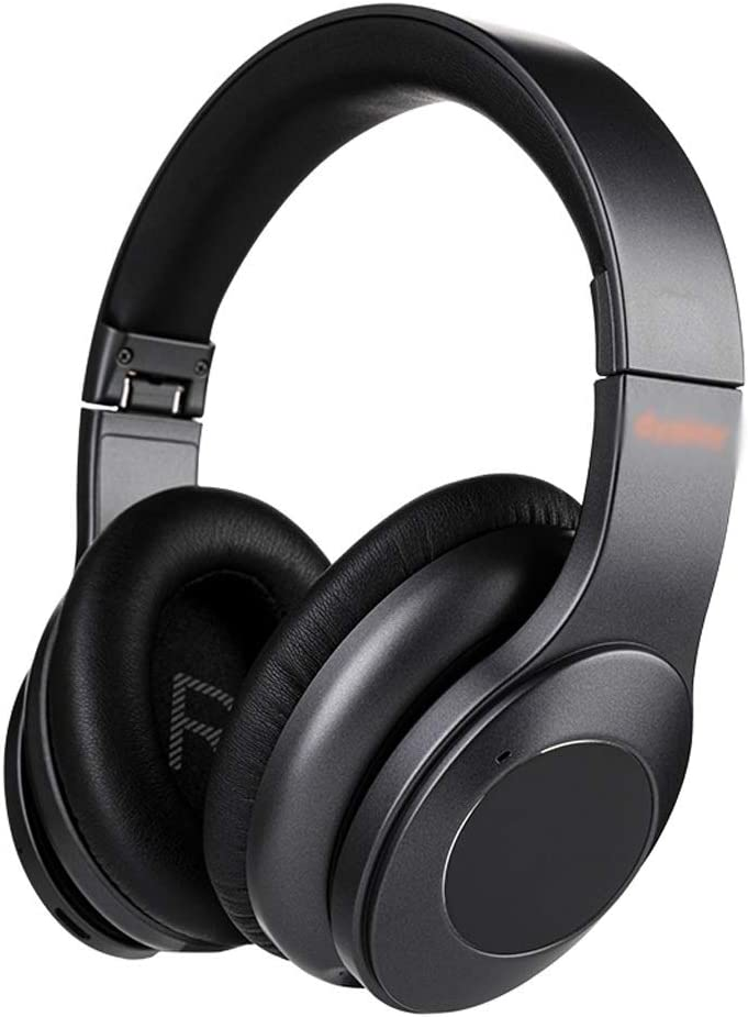 HBR Headphones Active Noise Cancelling Headphones Over Ear Wireless Bluetooth 5.0 Headphone with CVC 6.0 Mic Comfortable Protein Earpads (Color : Black)