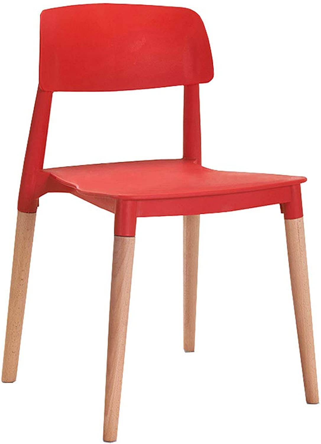 CQ Modern Minimalist Solid Wood Lazy backrest Dining Chair Nordic Leisure Home Home Stool (color   Red)
