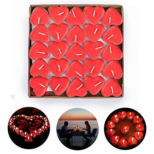 Kipida - Vela plana, 50 velas de calor planas, románticas, pequeñas velas...