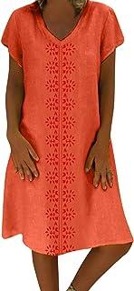 Vestidos Mujer Verano, Mujer Feminino Camiseta Algodón Casual Tallas Grandes Vestido de señoras Tallas Grandes Vestidos de Playa S - 5XL