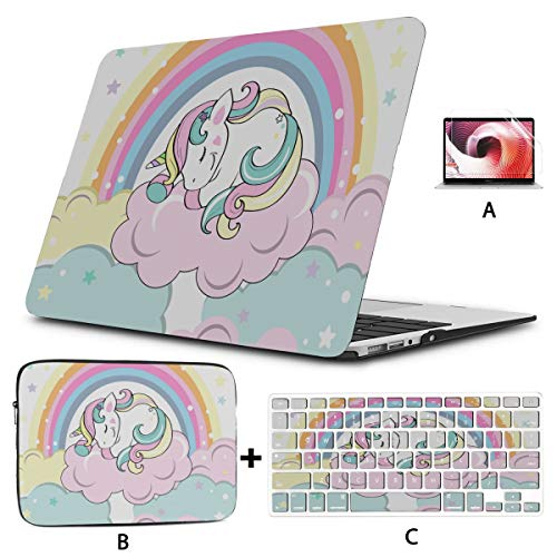 Accessories for MacBook Pro Sweet Cartoon Unicorn Child and Baby MacBook Case Hard Shell Mac Air 11'/13' Pro 13'/15'/16' with Notebook Sleeve Bag for MacBook 2008-2020 Version