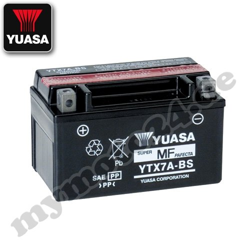 Batterie YUASA YTX7A-BS, 12V/6AH (Maße: 150x87x94) für Hyosung XRX125 SM Baujahr 2011