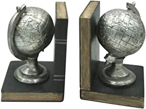 """Comfy Hour 5"""" Length 7"""" Height Set 2 Tellurion Bookends Art Bookend, 1 Pair, Antique Style, Solid Heavy Weight, Silvery"""