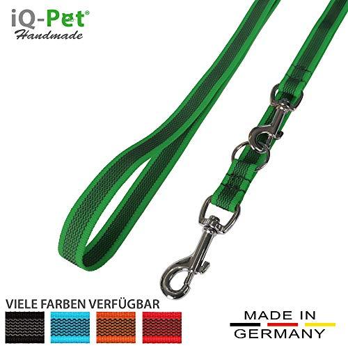 iQ-Pet Hundeleine Made IN Germany | 3-Fach verstellbar (2m - 1,20m) | Nylon, gummiert, in Signal-Farbe | sehr langlebig und robust | Hunde-Leine, Führ-Leine, Trainings-Leine, Doppel-Leine (Grün)