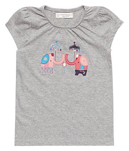 Sense Organics GADA T-Shirt GOTS T- Multicolore (Grey + Elephant Applique 900022), 68 cm (Taille du Fabricant: 3M) Bébé Fille