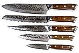 Stallion Damastmesser Ironwood Messerset - Messer aus Damaststahl und mit Griff aus Eisenholz inklusive Messerblock - 5
