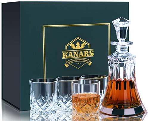 KANARS Whisky Karaffe Set, 550ml Whiskey Dekanter mit 4X 300ml Gläser, Bleifrei Kristallgläser, 5-teiliges, Hochwertig, Schöne Geschenk Box