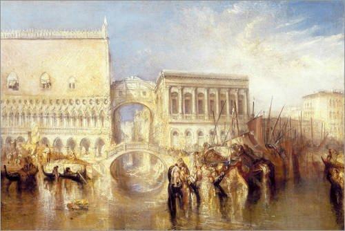 Posterlounge Cuadro de Madera 90 x 60 cm: Venice, The Bridge of Sighs de Joseph Mallord William Turner