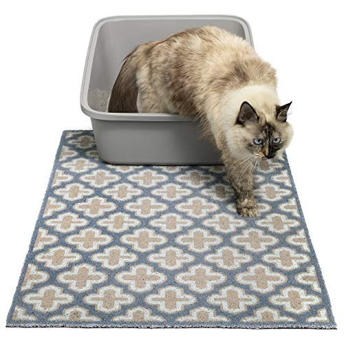 """Easyology Premium Large Cat Litter Mat 35"""" x 23"""", Traps Messes, Durable, Easy Clean, Litter Box Mat with Scatter Control - Soft on Kitty Paws(Casual Blue)"""