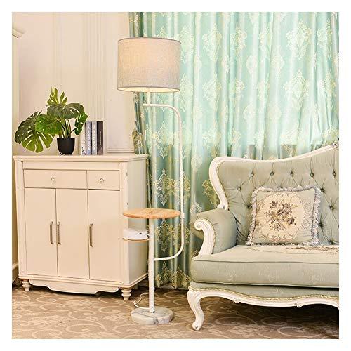 Lámpara de pie inalámbrica de LXMBHDB, para salón, dormitorio, mesita de noche, lámpara de mesa creativa vertical, para salón, comedor, estudio, dormitorio, audio, madera, lámpara de tela