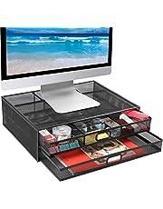 HUANUO Monitorstandaard met 2 Opbergladen - Metalen Gaasbalie-Organisatoren, Ondersteuningslaptop, Notebook, PC, Monitor, Printer, Scanner tot 15 KG