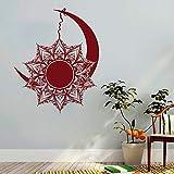Mond und Sonne Wandtattoo Mandala Aufkleber Symbol Tag und Nacht Bohemian Boho indischen Dekor Vinyl...