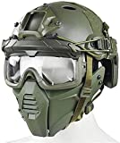 Casco PJ Airsoft rápido con Gafas de Seguridad divididas en 3D y máscara Protectora táctica Militar de Media Cara Adecuada para Paintball BB Gun Outdoor CS Games