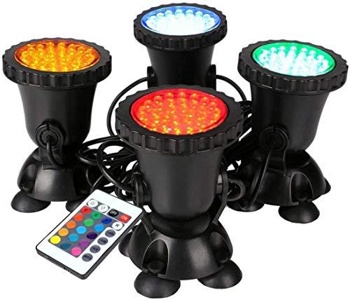 GreenSun Unterwasser Spot Licht, 4 in 1 RGB Spot Lampe IP68 Wasserdicht 36 Leds Gartenteich Lampe für Aquarium Beleuchtung mit Fernbedienung