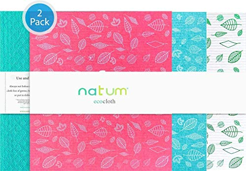 Natum ecocloth XL | Bayetas ecológicas antibacterianas | Paños Reutilizables Ecológicos Biodegradables | Multisuperficie & Cristales (Colores Surtidos) (2 Unidades)