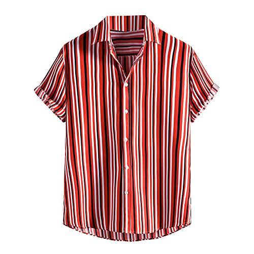 Binggong Camicia Uomo Vintage Etnico Henley Shirt Maniche Corte Estate Casual Hawaiana Maglietta T-Shirt Uomini Slim Fit Magliette Moda Top Tee Stampato Beach Casual Hawaii Camicia Camicia