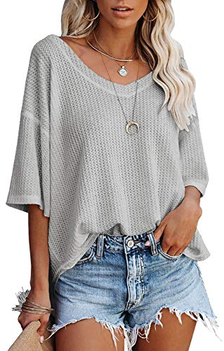 MEROKEETY Women's Casulal V Neck Off Shoulder Shirts Solid Color Loose Baggy Comfy Blouse Lightgrey