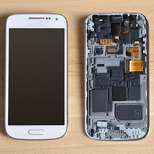 XCYY Teléfono móvil de Pantalla LCD Fit For Samsung Galaxy S4 Mini I9190 I9192 I9195 LCD de Pantalla táctil digitalizador Marco de la Asamblea (Color : White no Frame)