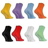 Rainbow Socks - Damen Herren Antirutsch Diabetiker Socken Ohne Gummibund ABS - 8 Paar - 8x Farben - Größen 39-41