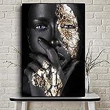 KWzEQ Arte Africano Negro y Oro Mujer Pintura al óleo escandinavo Arte de Pared para Sala de Estar,Pintura sin Marco,30x45cm