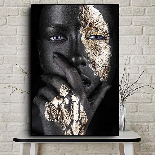 Jiushixw Afrikaanse kunst, zwart en goud, voor dames, olieverfschilderij op canvas, cuadros, affiches en stempel, Scandinavisch, Wall Art, foto, voor woonkamer 40x60cm
