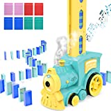 ZAYOR Domino Blocks Set Domino Train Toy Stacking Blocks Automatic Domino Place Water Mist Spray Music Train Suitable for Boys and Girls 3 4 5 6 7 8 Years Preschool Baby Gift (80 PCS)