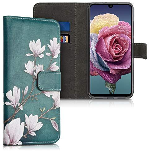 kwmobile Hülle kompatibel mit Xiaomi Redmi Note 7 / Note 7 Pro - Kunstleder Wallet Hülle mit Kartenfächern Stand Magnolien Taupe Weiß Blaugrau