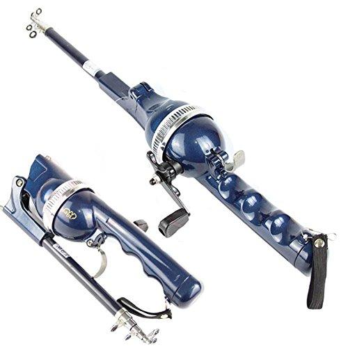 BEESCLOVER - Mini caña de Pescar telescópica de Acero Inoxidable con Carrete portátil