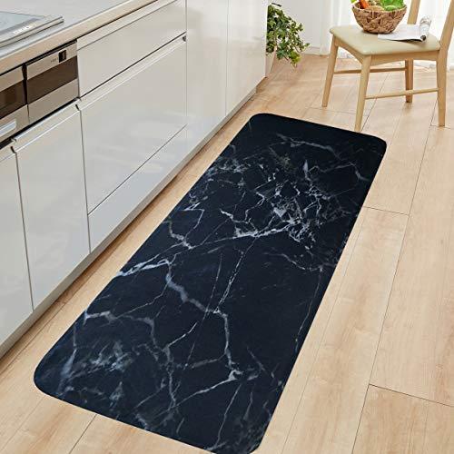 HLXX Alfombra de mármol Blanco y Negro con Estampado de Olas de mar, Felpudo de Entrada, Alfombrillas para el Suelo, alfombras para Sala de Estar, Alfombrilla de baño A2 50x160cm