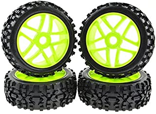 Rowiz 4PCS 1:8 RC Tires 17mm Hub Wheel Rims Pentagram for 1/8 Scale Off-Road Buggy Green