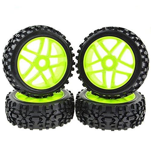 Rowiz 4PCS 1:8 RC Tires 17mm Hub Wheel Rims Pentagram for 1/8 Scale Off-Road Buggy Green
