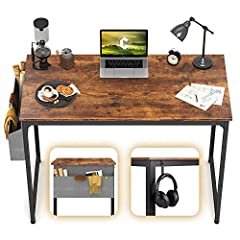 INDUSTRIAL CHARM DESK - The board texture along with dark metal legs give this computer desk an industrial charm appearance. Accompany with other furniture, this vintage-style desk is a beautiful décor for your home. STURDY DESIGN - Metal frame, tria...