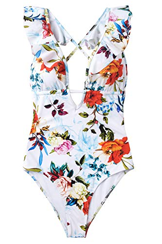 CUPSHE Women's Falbala One Piece Swimsuit Deep V Neck Monokini Swimsuit, Floral Print, Small