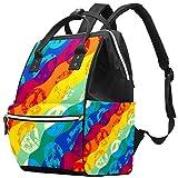 Bennigiry Peace Signs, mochila de gran capacidad, para viaje, bolsa organizadora de pañales, multifunción, para mamá